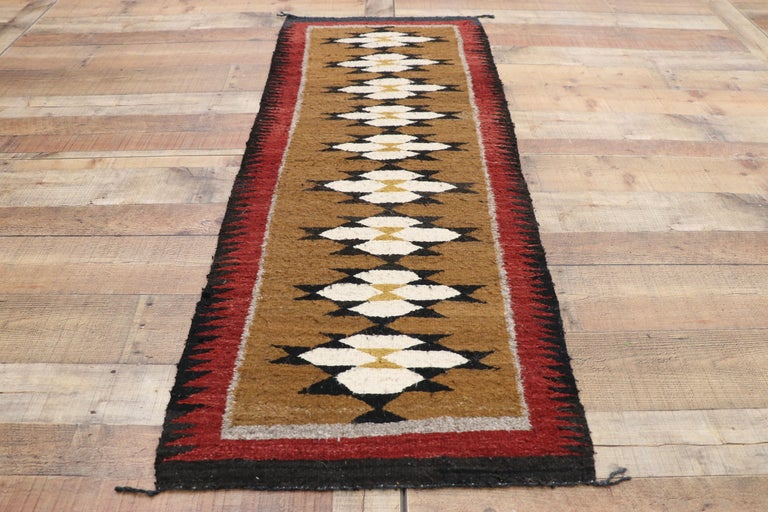 Native American Vintage Indian Navajo Kilim Runner with Adirondack Lodge Style For Sale 1