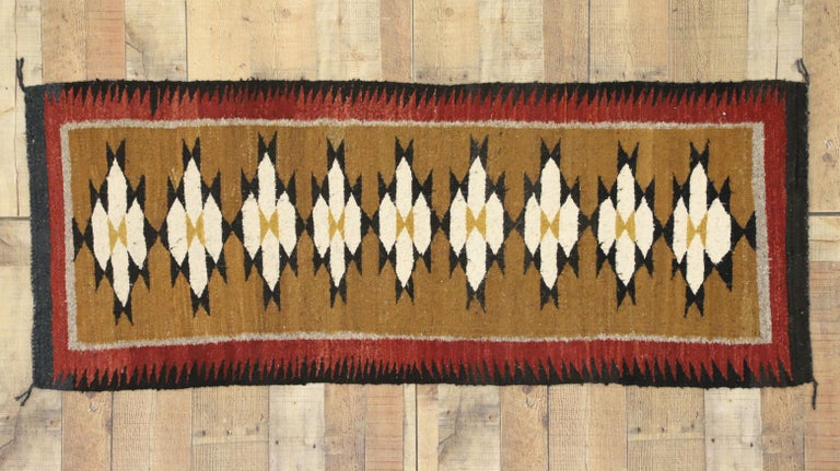 Native American Vintage Indian Navajo Kilim Runner with Adirondack Lodge Style For Sale 2