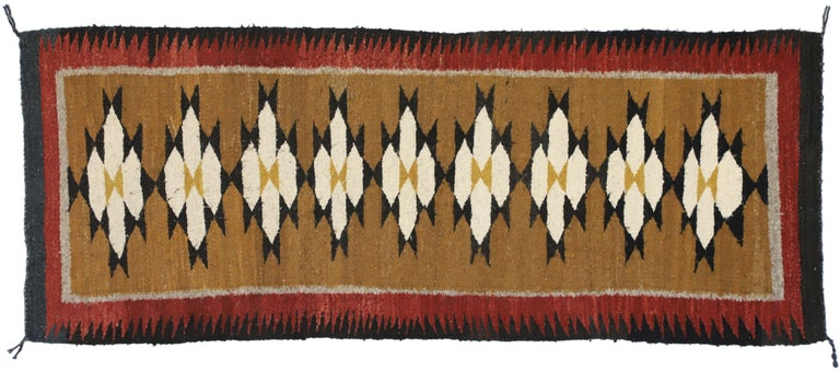 Native American Vintage Indian Navajo Kilim Runner with Adirondack Lodge Style For Sale 3