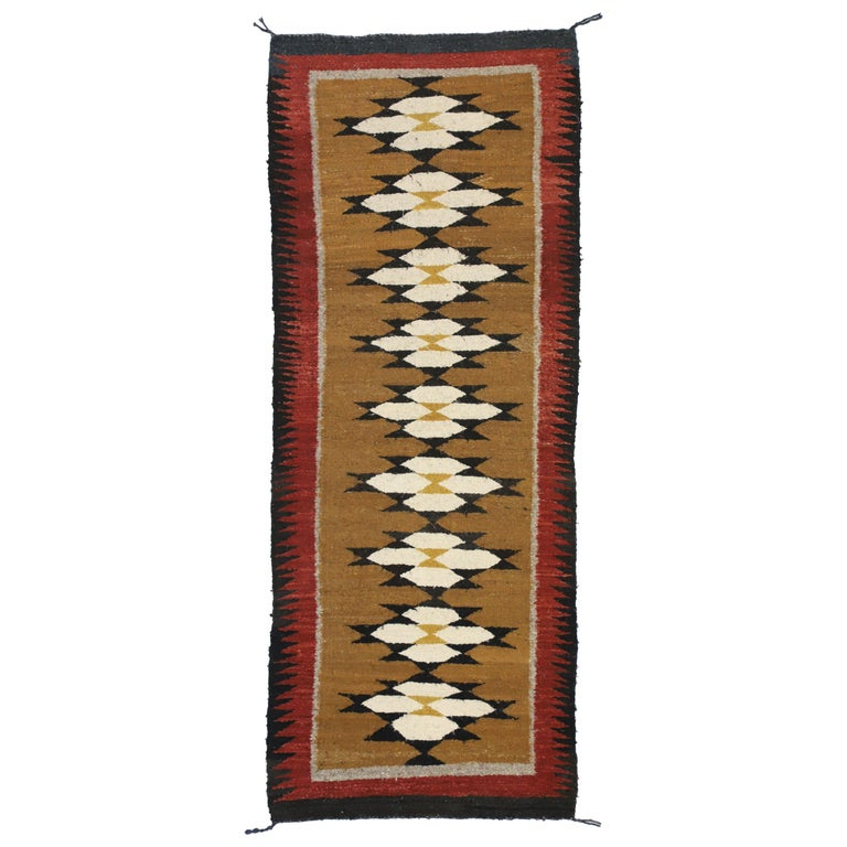 Native American Vintage Indian Navajo Kilim Runner with Adirondack Lodge Style For Sale