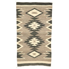 Native American Vintage Kilim Rug with with Navajo Two Grey Hills Style