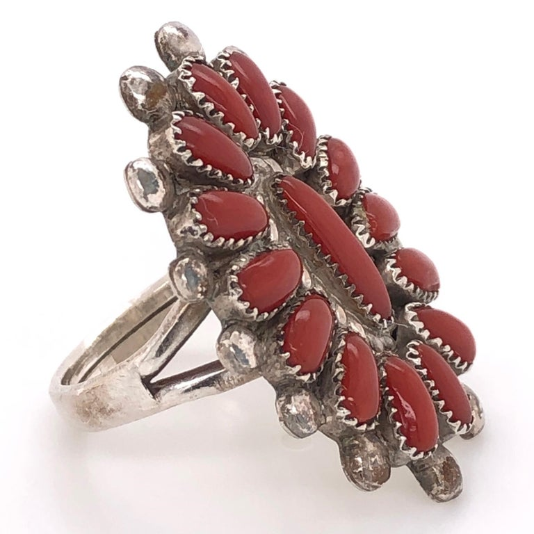 Stunning and highly desirable Native American Zuni Coral Petit Point Coral 925 Sterling Silver Ring featuring multi Coral nuggets in beautifully crafted frame. Size 7.5, measuring approx.  1-1/3