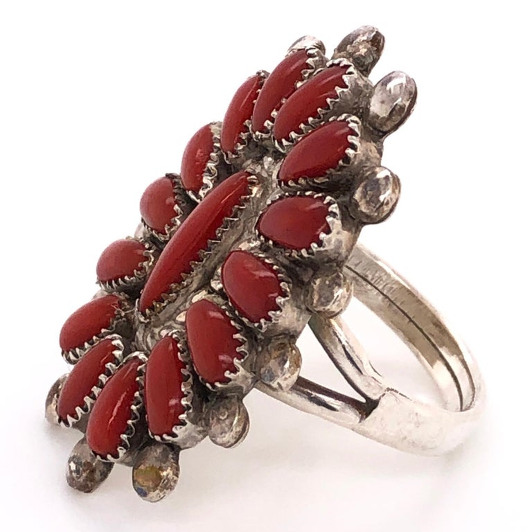 Women's or Men's Native American Zuni Petit Point Coral 925 Silver Ring Estate Fine Jewelry  For Sale