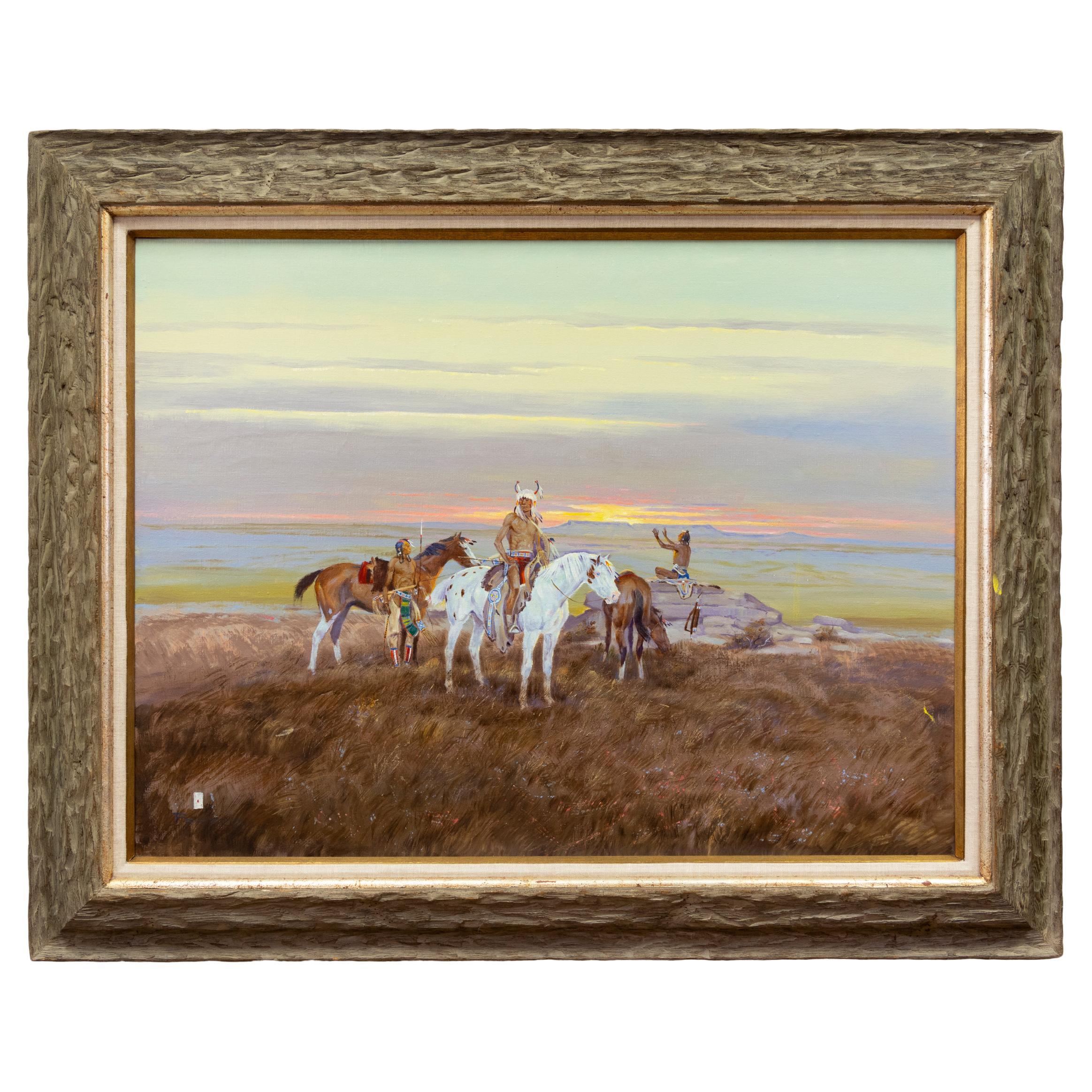 """""""Native Americans at Sunset"""" Original Oil Painting by Ace Powell"""