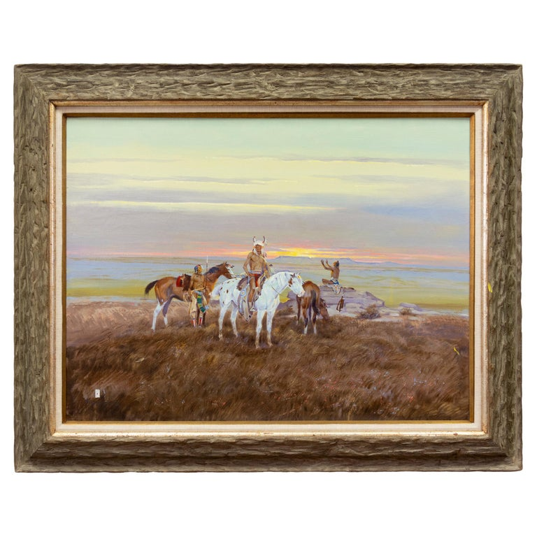 """""""Native Americans at Sunset"""" Original Oil Painting by Ace Powell For Sale"""