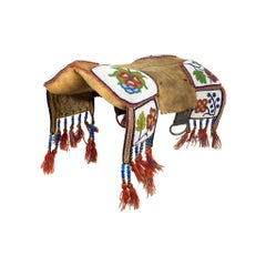Native Cree 19th Century Beaded Pad Saddle