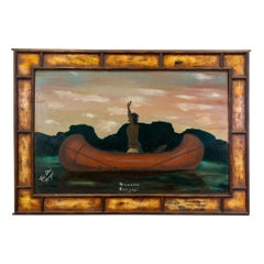 Native Man in Canoe Original Oil Painting by C.E. Ska Hayes