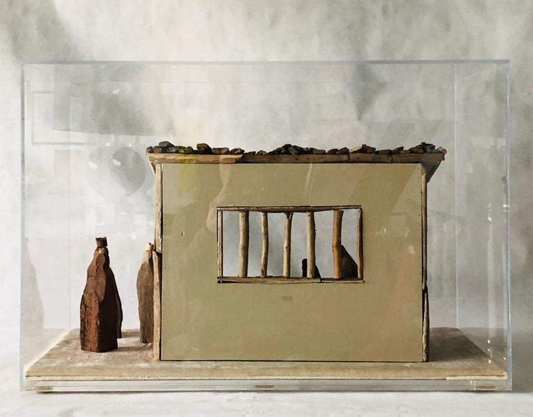 American Nativity Scene in Driftwood and Lucite Object D'art by AMK for Patricia Kagan For Sale