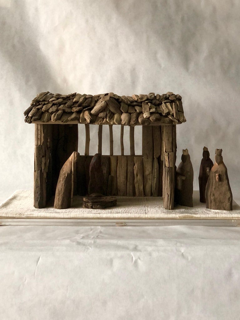 Velvet Nativity Scene in Driftwood and Lucite Object D'art by AMK for Patricia Kagan For Sale