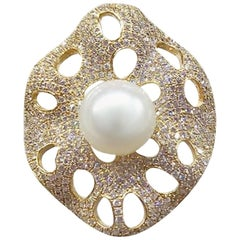 Natkina 5.17 Carat Natural Pearl White Diamond Precious Yellow Gold Ring