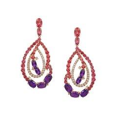 Natkina Amethyst, Diamond, Pink Topaz, Tourmaline Rose Gold Cocktail Earrings