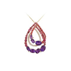 Natkina Amethyst, Diamond, Pink Topaz, Tourmaline Rose Gold Necklace Cocktail