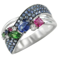 Natkina Blue Multi Sapphire Ruby Tsavorite Diamond Cocktail White Gold Ring