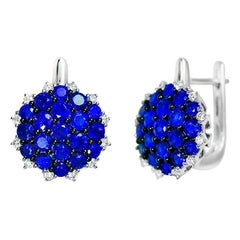 Natkina Blue Sapphire Diamond Lever-Back Precious Earrings