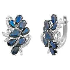 Natkina Blue Sapphire Diamond Lever-Back Precious White Gold Earrings