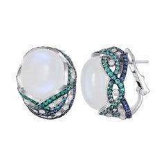 Natkina Blue Sapphire Moon Stone Diamond Lever-Back Tourmaline 18K Gold Earrings