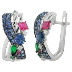 Natkina Blue Sapphire Ruby Tsavorite Diamond Lever-Back Precious Earrings