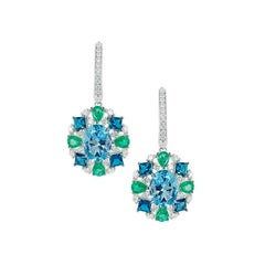 Natkina Diamond Blue Topaz Rare Emerald 18 Karat White Gold Dangle Drop Earrings