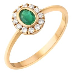 Natkina Green Emerald Diamond Precious Yellow Gold Ring