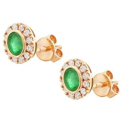 Natkina Green Emerald Diamond Stud Precious Yellow Gold Earrings