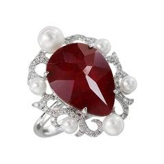 Natkina Pearl Ruby Diamond White Gold Baroque Fashion Ring