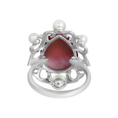 Natkina Pearl Ruby Diamond White Gold Baroque Fashion Ring