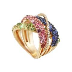 Natkina Pink Blue Sapphire Tourmaline Peridot Tsavorite Rose Gold Ring
