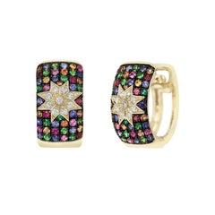 Natkina Precious Sapphire Tsavorite Ruby Star Diamond Lever-Back Earrings