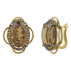 Natkina Quartz Diamond Lever-Back Precious Yellow Gold Earrings