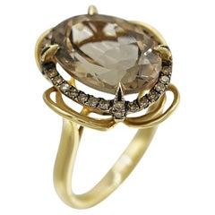 Natkina Quartz Diamond Precious Yellow Gold Ring