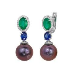 Natkina Rare Emerald Sapphire Tahiti Pearl Lever-Back Three-Stone Gold Earrings