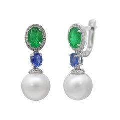 Natkina Rare Emerald Sapphire White Pearl Lever-Back Three-Stone Earrings