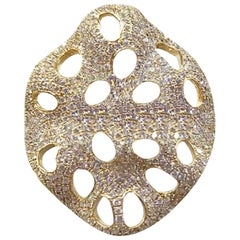 Natkina Rococo Baroque Style White Diamond Precious Yellow Gold Statement Ring