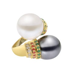 Natkina Tahiti and White Pearl Emerald Ruby Diamond 18 Karat Yellow Gold Ring
