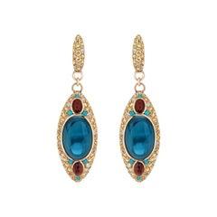 Natkina Turquoise Sapphire 14 Carat Topaz Garnet Diamond 18 Karat Gold Earrings