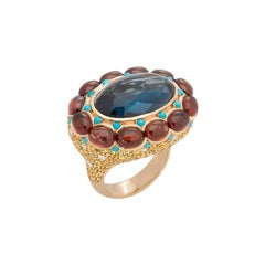 Natkina Turquoise Sapphire 15 Carat Topaz Garnet Diamond 18 Karat Gold Ring