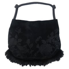 Natori Embroidered Black Suede & Faux Fur Handbag With Pagoda Handle