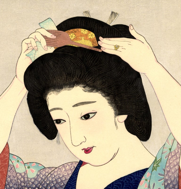 Beauty Before the Mirror - Print by Natori Shunsen