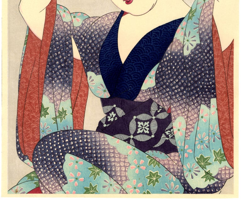 Beauty Before the Mirror - Beige Figurative Print by Natori Shunsen