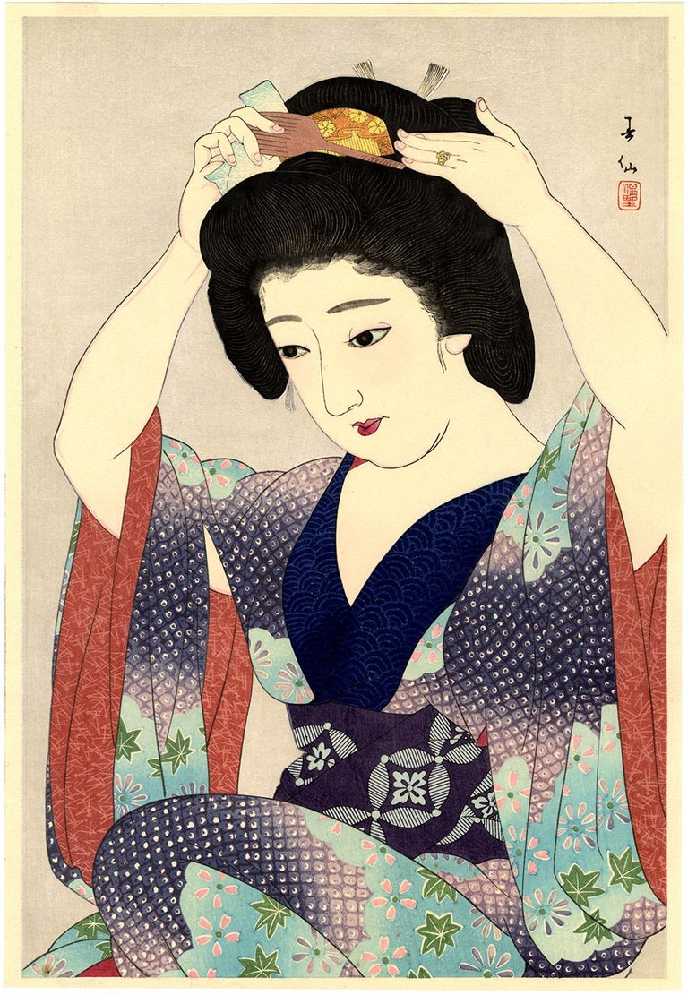 Natori Shunsen Figurative Print - Beauty Before the Mirror