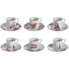 Natsumi, Coffee Set with Six Contemporary Porcelains with Decorative Design