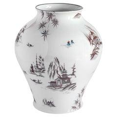 Natsumi, Contemporary Porcelain Vase with Decorative Design by Vito Nesta