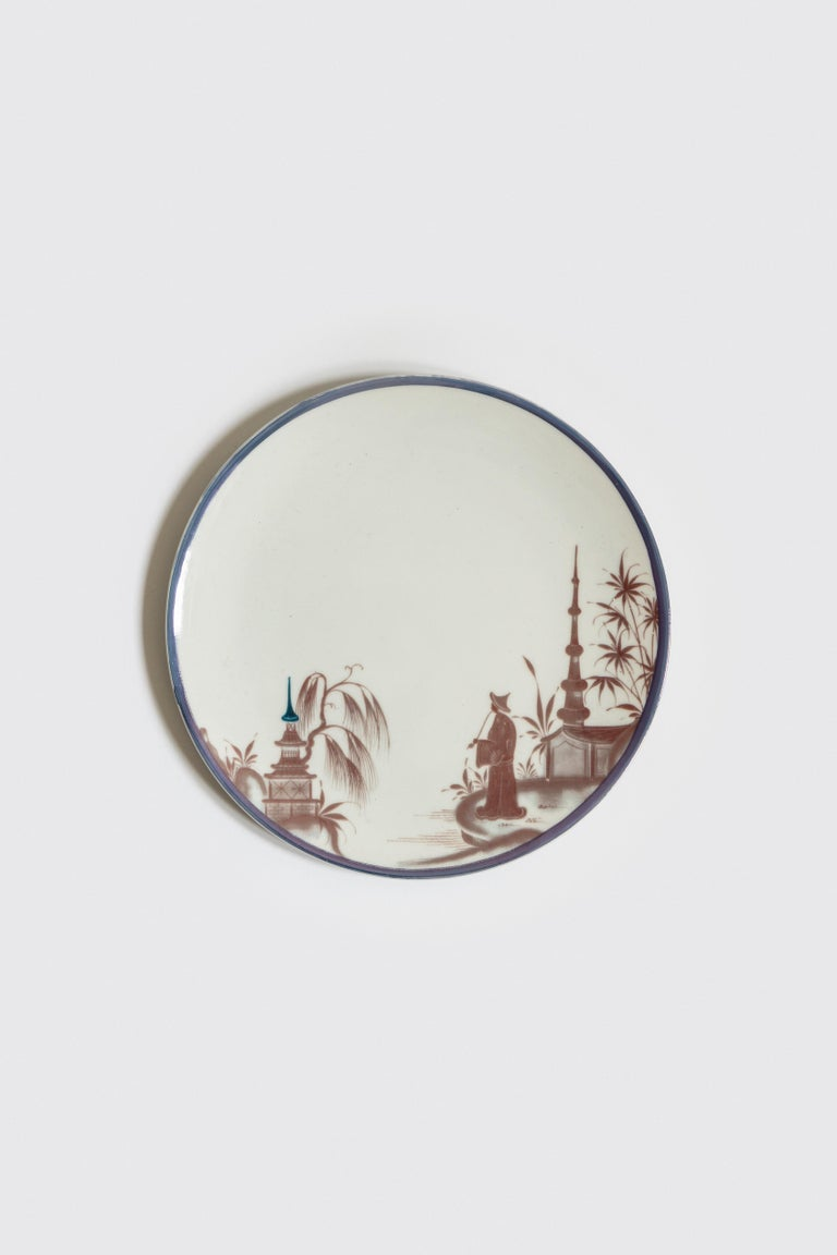 Italian Natsumi, Six Contemporary Porcelain Dinner Plates with Decorative Design For Sale
