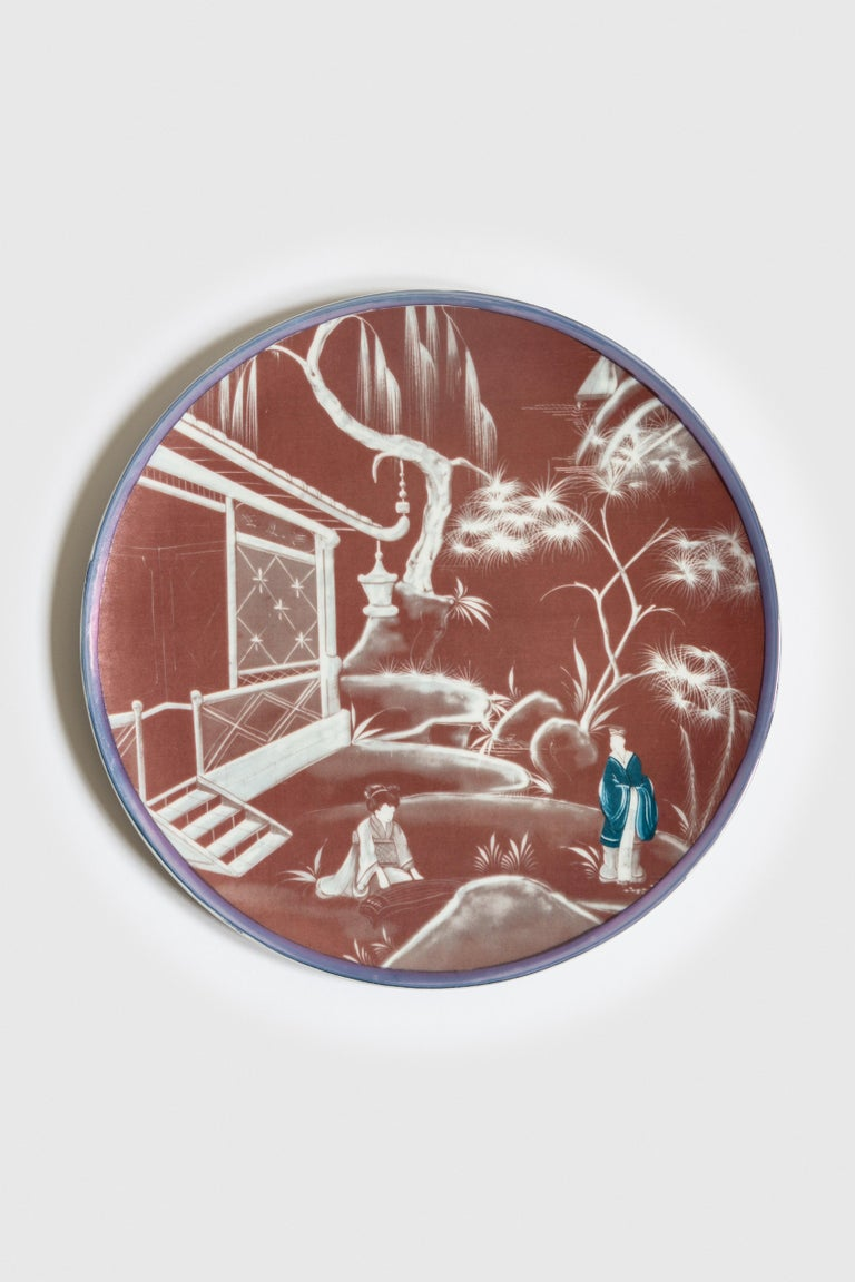 Natsumi, Six Contemporary Porcelain Dinner Plates with Decorative Design In New Condition For Sale In Milan, IT