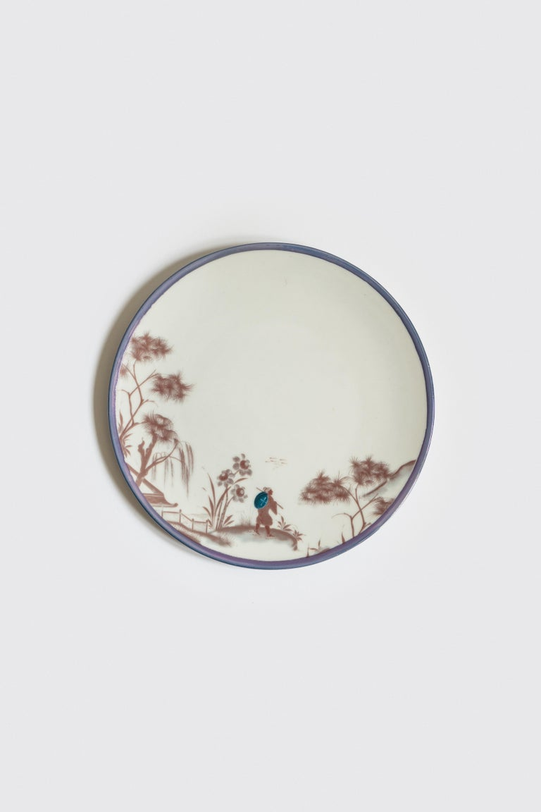 Natsumi, Six Contemporary Porcelain Dinner Plates with Decorative Design For Sale 1