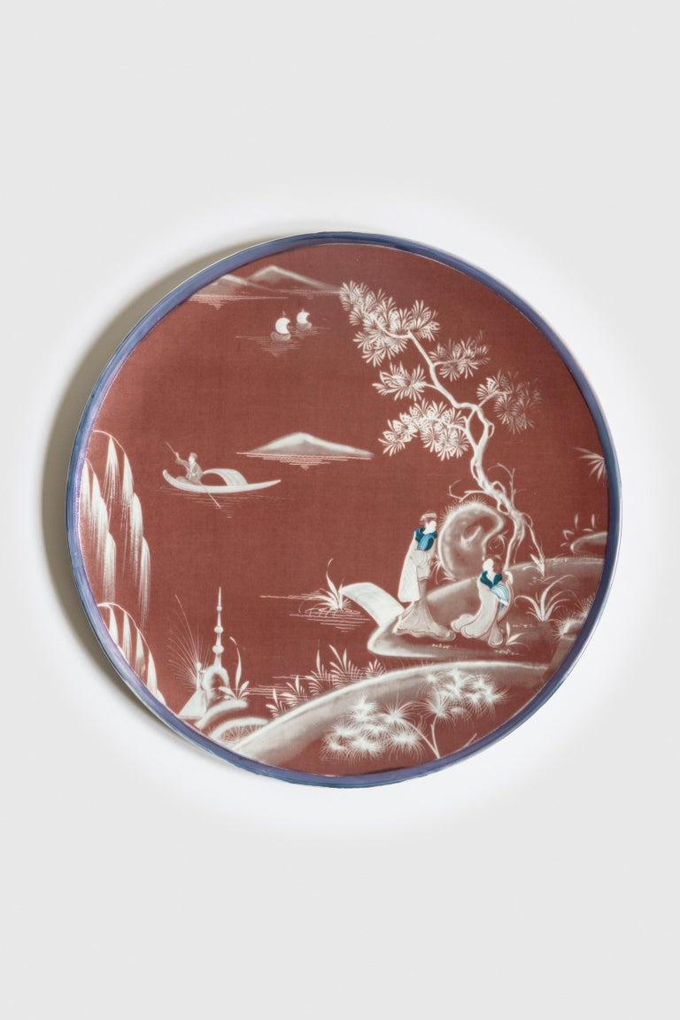 Natsumi, Six Contemporary Porcelain Dinner Plates with Decorative Design For Sale 2