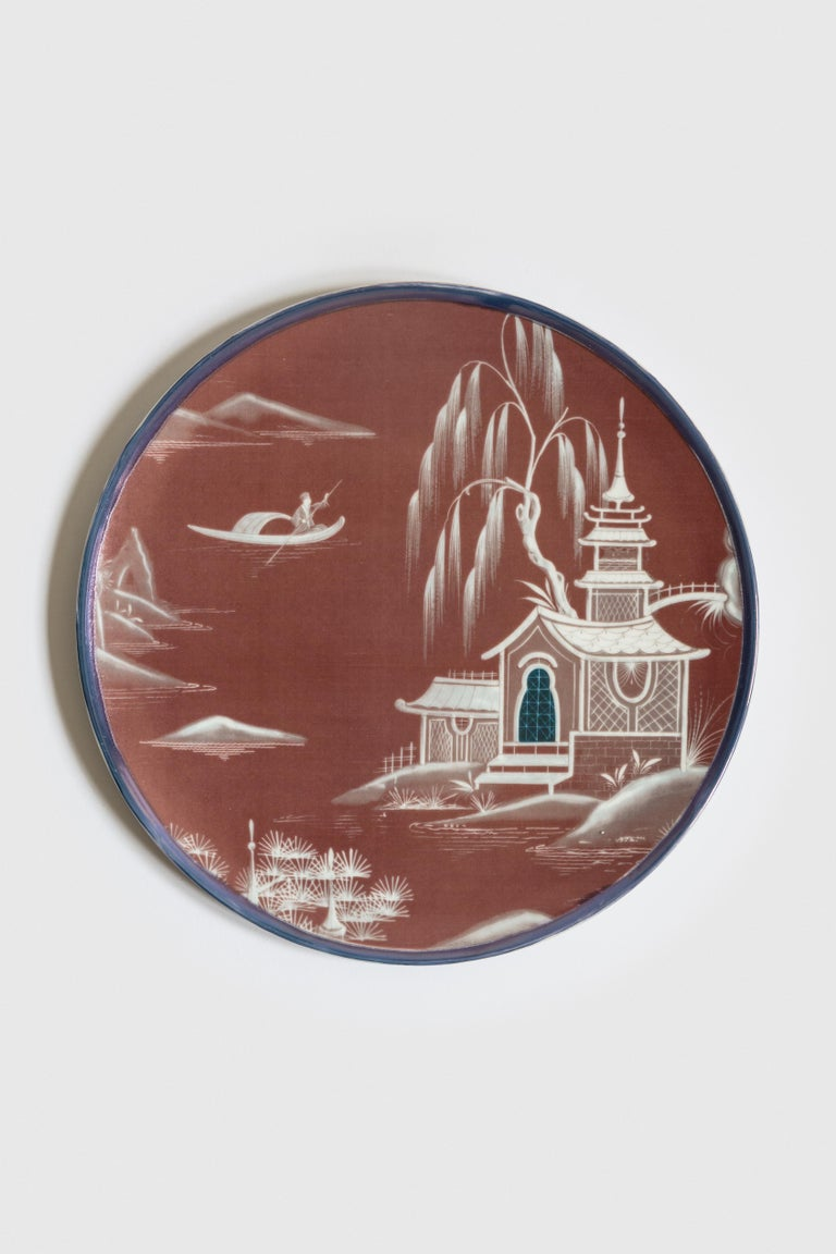 Natsumi, Six Contemporary Porcelain Dinner Plates with Decorative Design For Sale 3