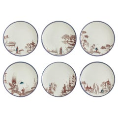 Natsumi, Six Contemporary Porcelain Dinner Plates with Decorative Design