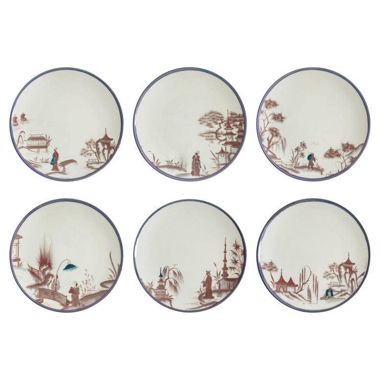 Natsumi, Six Contemporary Porcelain Dinner Plates with Decorative Design For Sale