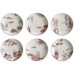 Natsumi, Six Contemporary Porcelain Soup Plates with Decorative Design